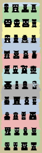 A collection of tiki totem icons created for use in the Big Kahuna Tiki Party invitations